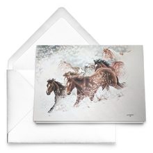 Load image into Gallery viewer, Art Card: Snow Drift Gallop | Horse Art by Clare Hobson | Free Envelopes
