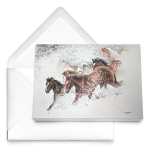 Art Card: Snow Drift Gallop | Horse Art by Clare Hobson | Free Envelopes