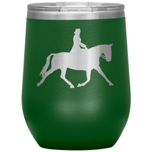 Load image into Gallery viewer, Wine Tumbler - Dressage Extended Trot - Green