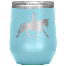 Load image into Gallery viewer, Wine Tumbler - Dressage Extended Trot - Light Blue