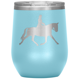 Wine Tumbler - Dressage Extended Trot - Light Blue