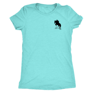 Tee Shirt Womens Triblend: Just Jump It - Tahiti Blue