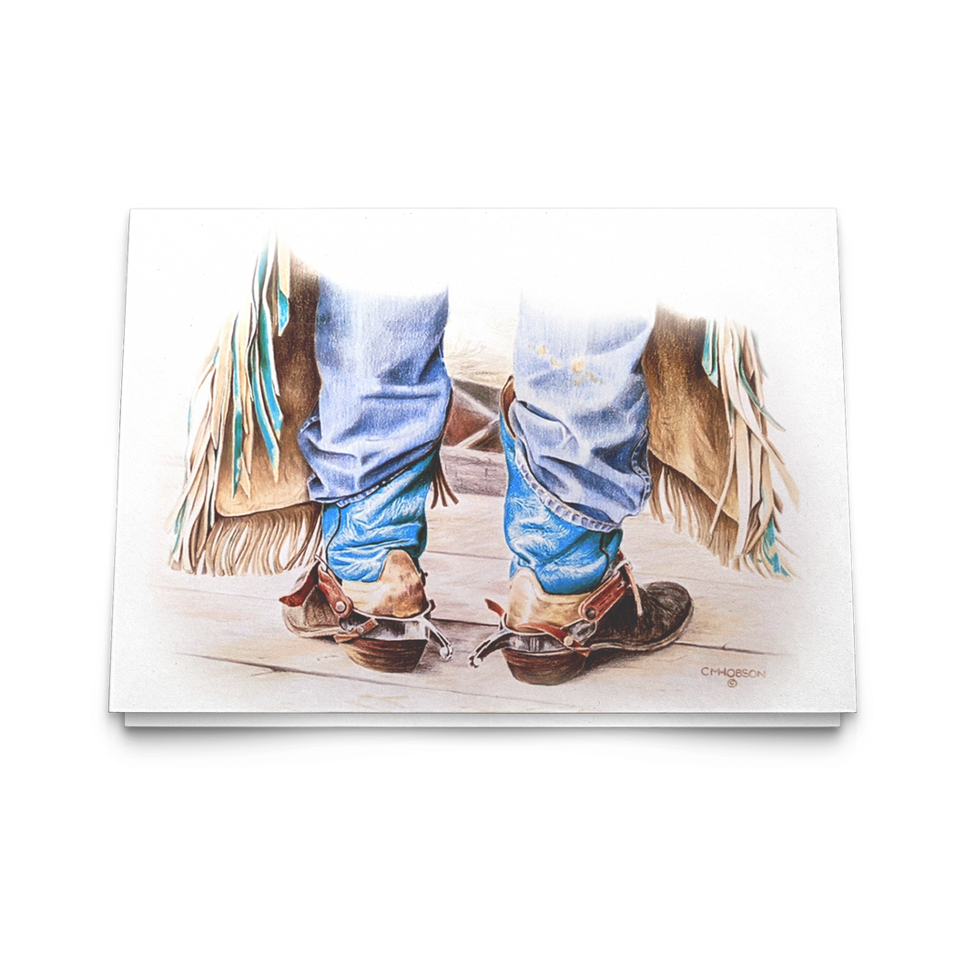 Art Card: Cowboy Boots - Ready to Rodeo - by Artist Clare Hobson