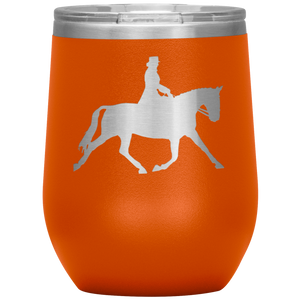 Wine Tumbler - Dressage Extended Trot - Orange