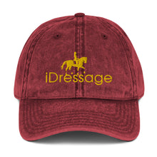 Load image into Gallery viewer, Vintage Cotton Twill Cap - iDressage Gold on Maroon