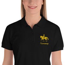 Load image into Gallery viewer, Embroidered Women's Polo Shirt - iDressage Gold