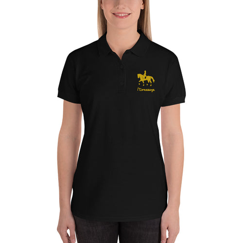 Embroidered Women's Polo Shirt - iDressage Gold
