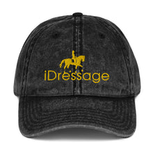 Load image into Gallery viewer, Vintage Cotton Twill Cap - iDressage Gold on Black