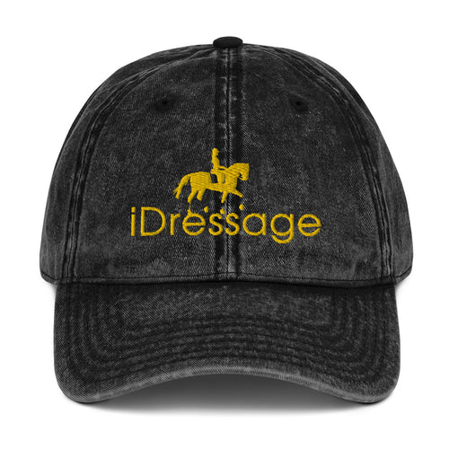Vintage Cotton Twill Cap - iDressage Gold on Black