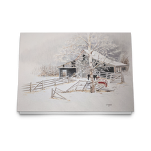 Load image into Gallery viewer, Art Card: Driftwood Barn in Winter |  Barnscape Landscape Art Cards