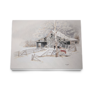 Art Card: Driftwood Barn in Winter |  Barnscape Landscape Art Cards