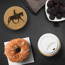 Load image into Gallery viewer, Use Cork Coasters: Dressage Extended Trot to protect your table from heat stains