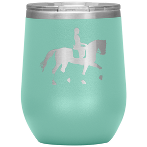 Wine Tumbler - Dressage Collected Trot - Teal