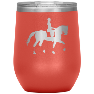 Wine Tumbler - Dressage Collected Trot - Coral
