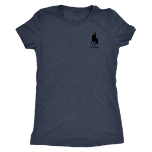 Tee Shirt Womens Triblend: iDressage Horse Graphic - Vintage Navy