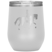Load image into Gallery viewer, Wine Tumbler - Dressage Collected Trot - White