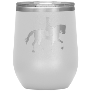 Wine Tumbler - Dressage Collected Trot - White