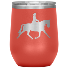 Load image into Gallery viewer, Wine Tumbler - Dressage Extended Trot - Coral