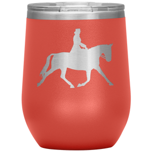 Wine Tumbler - Dressage Extended Trot - Coral
