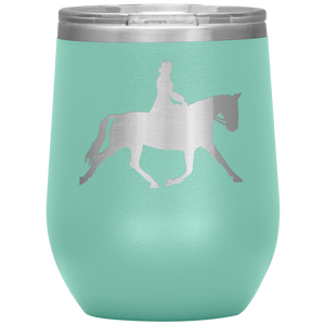 Wine Tumbler - Dressage Extended Trot - Teal
