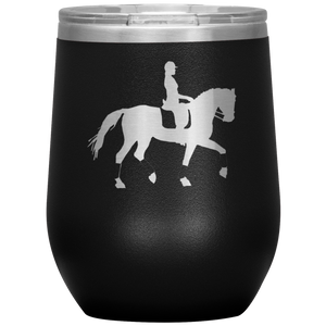 Wine Tumbler - Dressage Collected Trot - Black