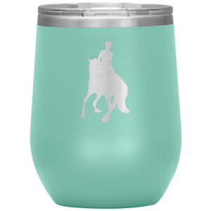 Wine Tumbler - Dressage Canter Pirouette - Teal