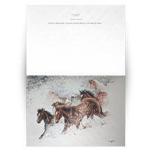 Load image into Gallery viewer, Art Card: Snow Drift Gallop Greeting Cards for Horse Lovers - blank inside