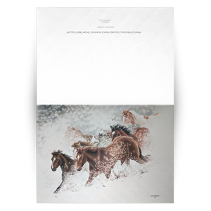 Art Card: Snow Drift Gallop Greeting Cards for Horse Lovers - blank inside