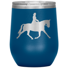 Load image into Gallery viewer, Wine Tumbler - Dressage Extended Trot - Blue