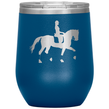 Load image into Gallery viewer, Wine Tumbler - Dressage Collected Trot - Blue