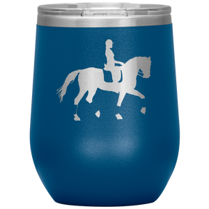Wine Tumbler - Dressage Collected Trot - Blue