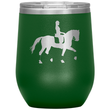Load image into Gallery viewer, Wine Tumbler - Dressage Collected Trot - Green