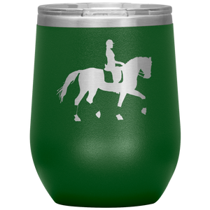 Wine Tumbler - Dressage Collected Trot - Green