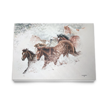 Load image into Gallery viewer, Art Card: Snow Drift Gallop by Equine Artist: Clare Hobson