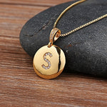 Gold Color Initial Letter Necklace