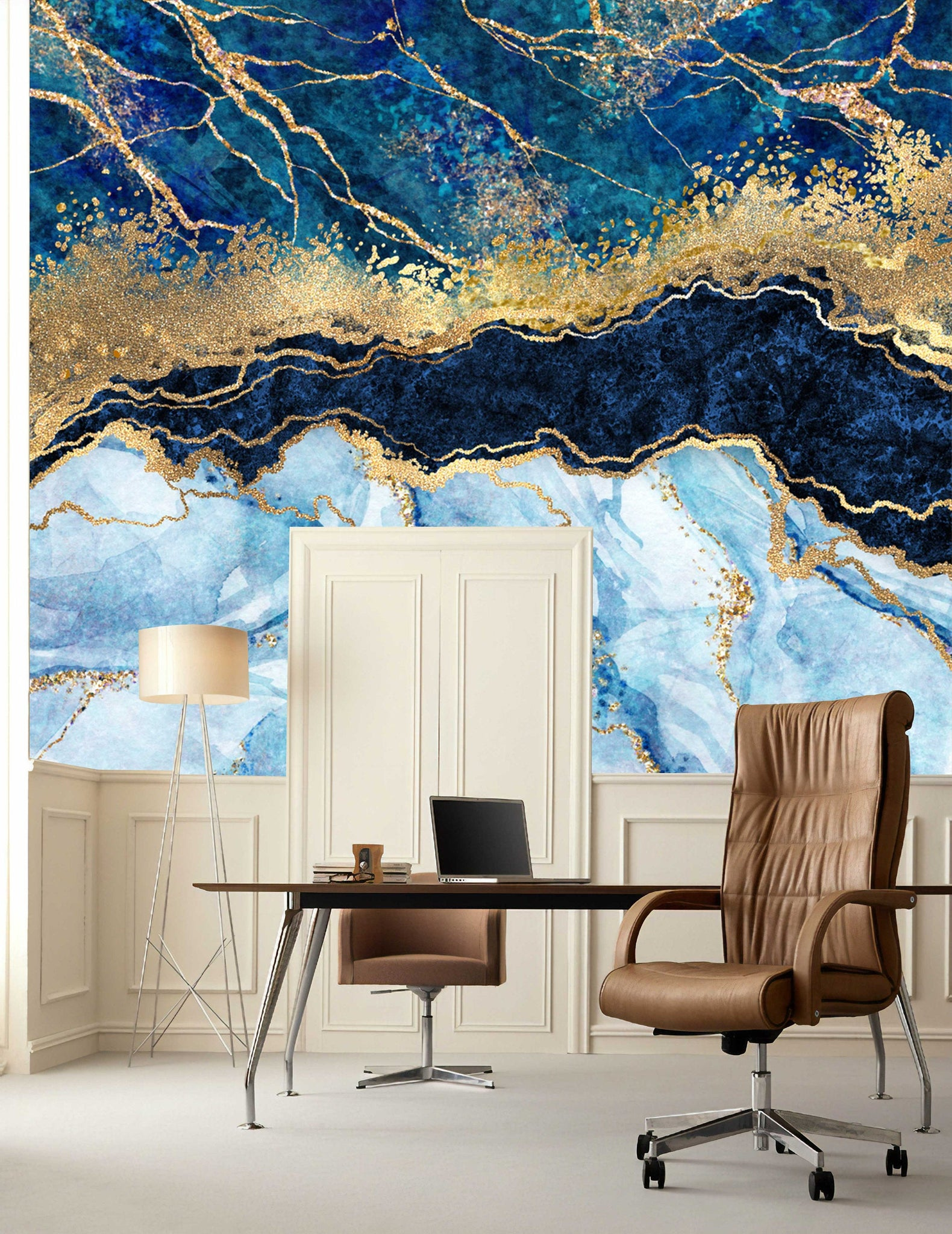 Marble Abstract Design Shades Of Blue Gold Yellow Wallpaper Wallpaew