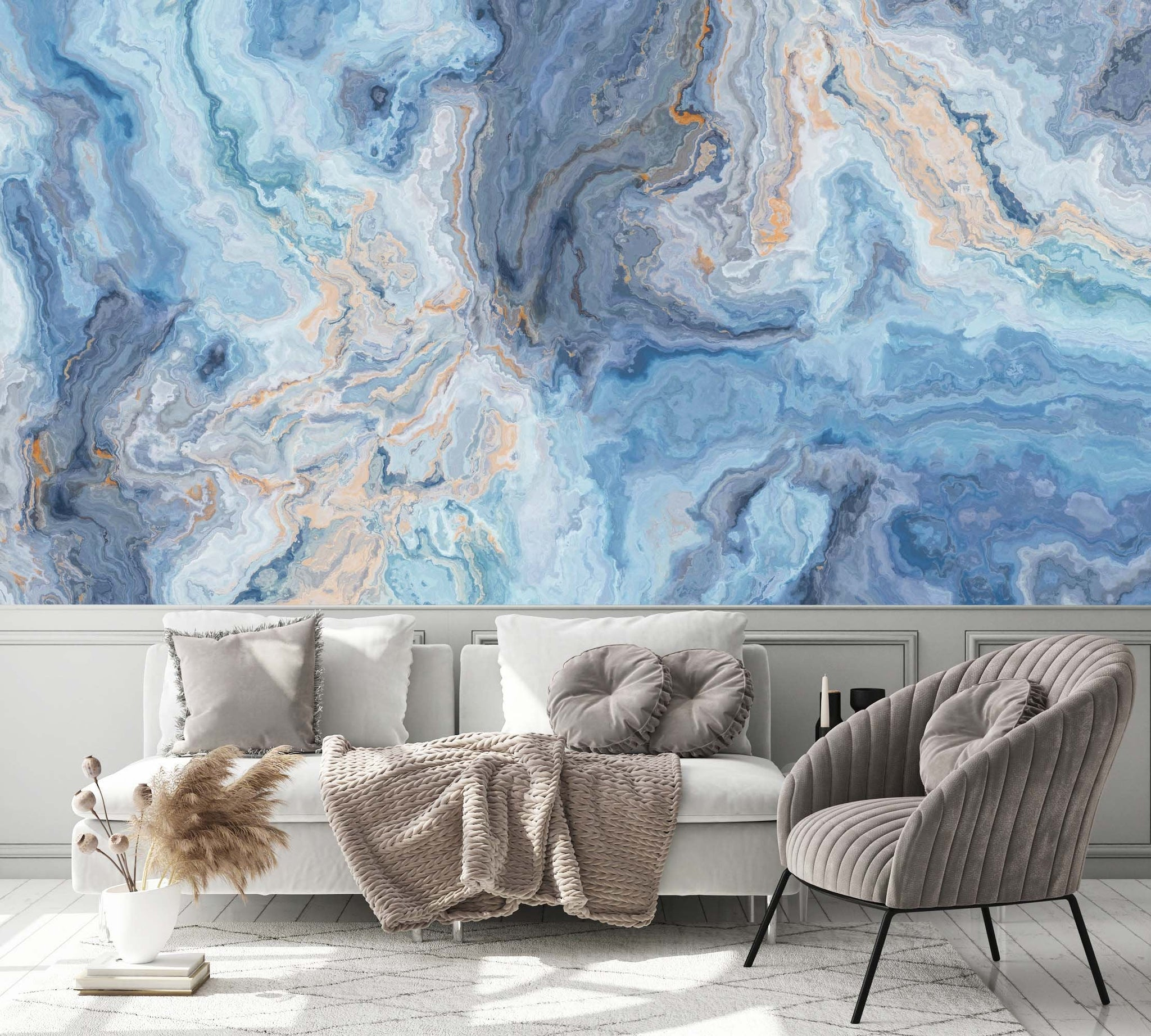 Blue Marble Pattern With Curly Grey And Gold Veins Abstract Wallpaper Wallpaew