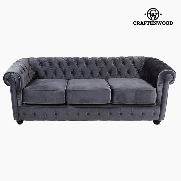 Chesterfield Sofa 3-Sitzer Samt Grau - Relax Retro Kollektion by Craftenwood
