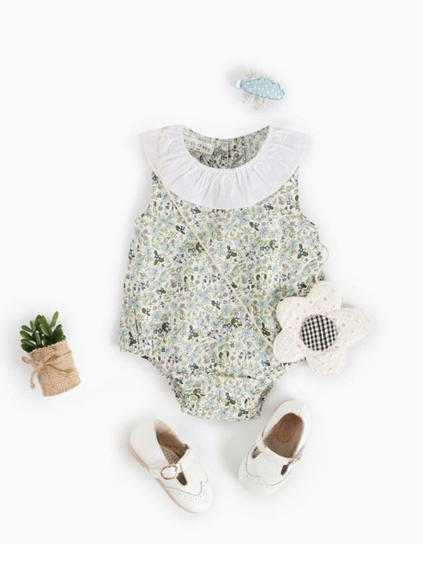 Amalia Circle Collar Floral Sleeveless Romper