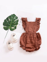 Load image into Gallery viewer, Tessa Muslin Ruffle Open Back Apron Pinafore Romper