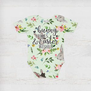 Bunny Kisses & Easter Wishes Baby Onesie