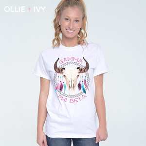 Buffalo Skull + Feathers Shirt