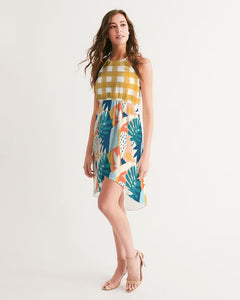 Modern Affinity Gingham Hi-Lo Hem Halter Dress
