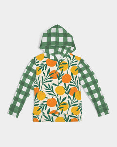 Orange Dream Gingham Kids Hoodie Sweatshirt