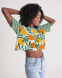 Orange Dream Gingham Oversized Cropped Tee