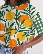 Load image into Gallery viewer, Orange Dream Gingham Oversized Cropped Tee