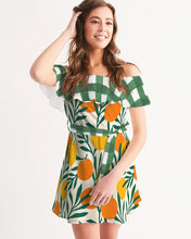 Load image into Gallery viewer, Orange Dream Gingham Ruffle Off-Shoulder Dress
