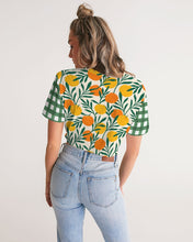Load image into Gallery viewer, Orange Dream Gingham Twist-Front Cropped Tee