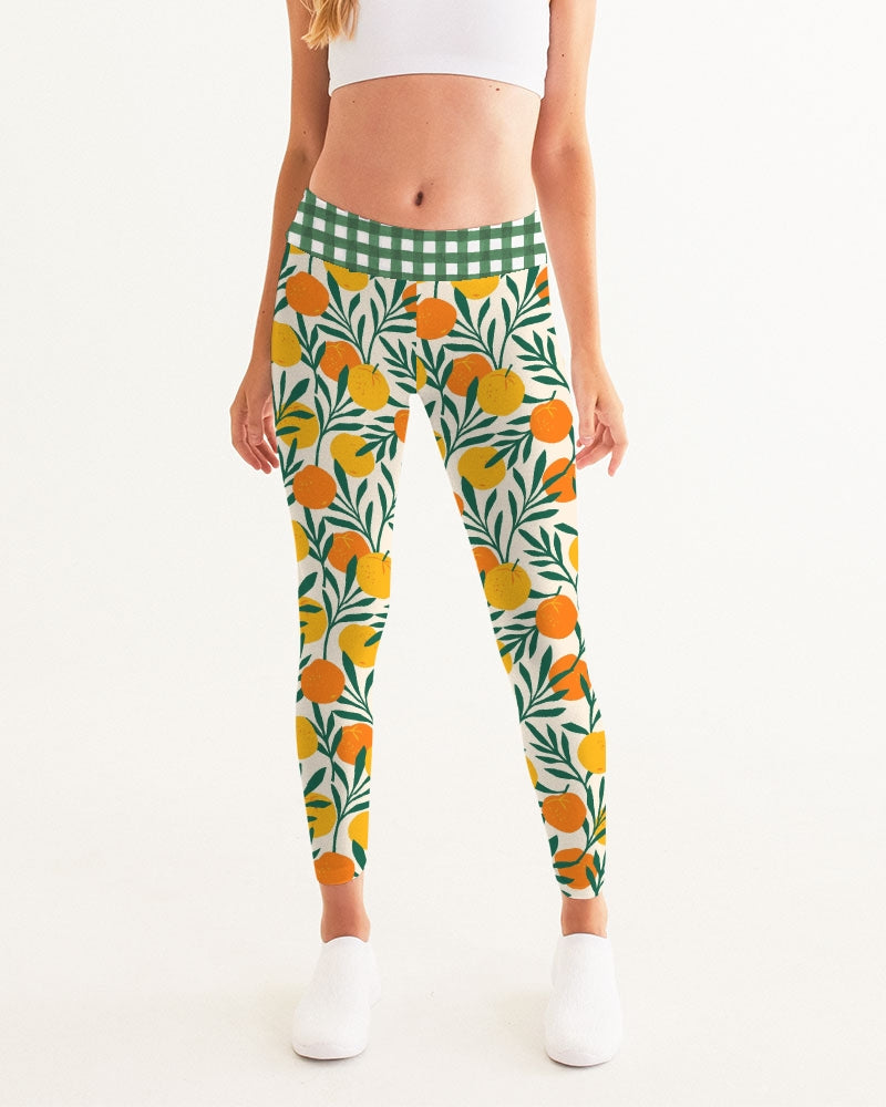 Orange Dream Gingham Women's Yoga Pants