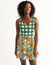 Load image into Gallery viewer, Orange Dream Gingham Scoop Neck Skater Dress